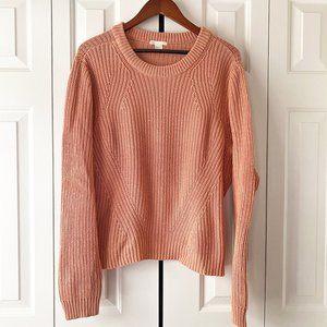 ZARA Dusty Rose Chunky Angle Knit Crewneck Sweater